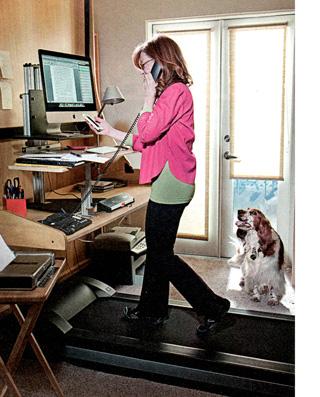 Susan Orleans using a treadmill desk